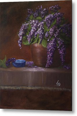 Copper Vase And Lilacs Metal Print