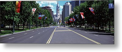 Country Flags On Trees Along Martin Metal Print