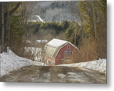 Country Road And Barn In Winter Maine Metal Print