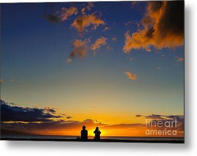 Couple Watching The Sunset On A Beach In Maui Hawaii Usa Metal Print
