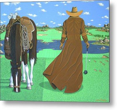 Cowboy Caddy Metal Print