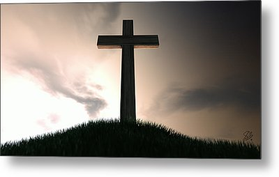Crucifix On A Hill At Dawn Metal Print by Allan Swart