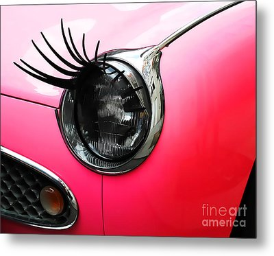 Cute Pink Car Metal Print by Jasna Buncic