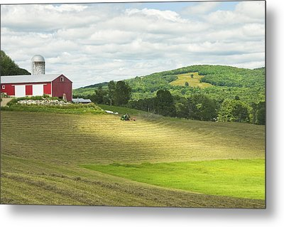 Cutting Hay In Summer On Maine Farm Metal Print by Keith Webber Jr