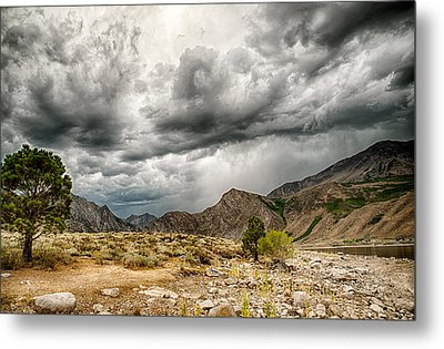 Dark Skies At Grant Lake Metal Print by Cat Connor