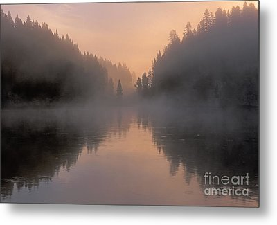 Dawn On The Yellowstone River Metal Print by Sandra Bronstein