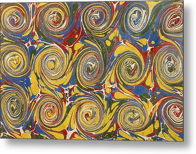 Decorative End Paper Metal Print by English School
