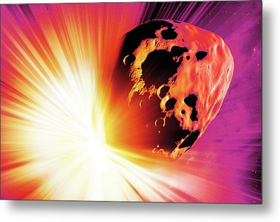 Deflecting A Near-earth Asteroid Metal Print by Detlev Van Ravenswaay