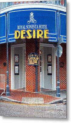 Desire Corner Bourbon Street French Quarter New Orleans Accented Edges Digital Art Metal Print by Shawn O'Brien