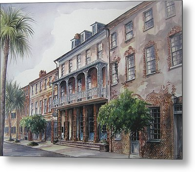 Metal Print featuring the painting Dock Street Theatre by Gloria Turner