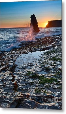 Dramatic View Of A Sea Stack In Davenport Beach Santa Cruz. Metal Print by Jamie Pham