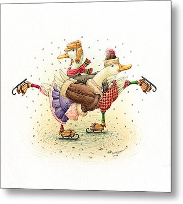 Ducks Christmas Metal Print by Kestutis Kasparavicius