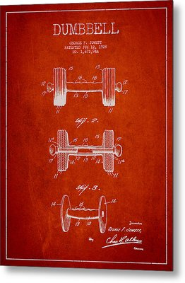 Dumbbell Patent Drawing From 1927 Metal Print by Aged Pixel