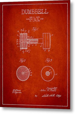 Dumbbell Patent Drawing From 1935 Metal Print by Aged Pixel