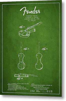 Electric Violin Patent Drawing From 1960 Metal Print by Aged Pixel