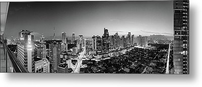 Elevated View Of Skylines In A City Metal Print