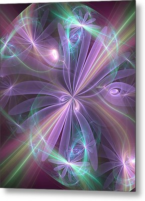 Metal Print featuring the digital art Ethereal Flower In Violet by Svetlana Nikolova