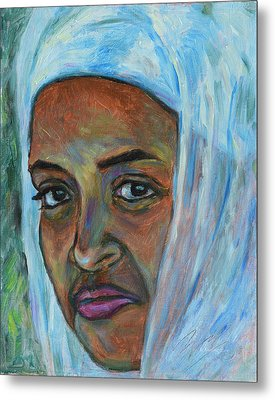 Metal Print featuring the painting Ethiopian Lady by Xueling Zou