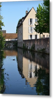 Eure River In Chartres Metal Print