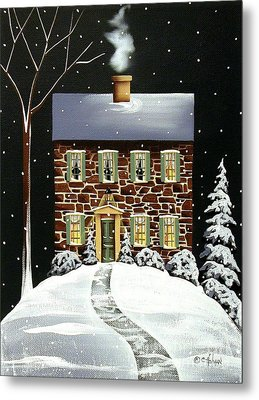 Evergreen Cottage Metal Print by Catherine Holman