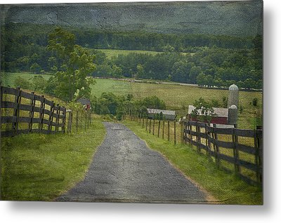 Farm In The Valley Metal Print