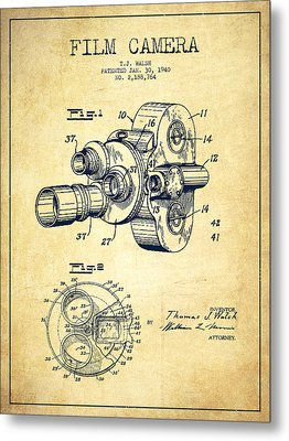 Film Camera Patent Drawing From 1938 Metal Print by Aged Pixel