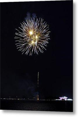 Fireworks Shell Burst Over The St Petersburg Pier Metal Print by Jay Droggitis