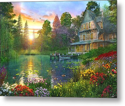 Fishing At Sunset Metal Print by Dominic Davison