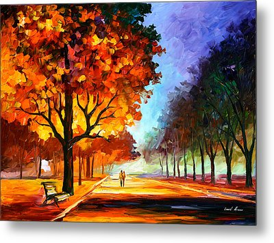 Flaming Night Metal Print by Leonid Afremov