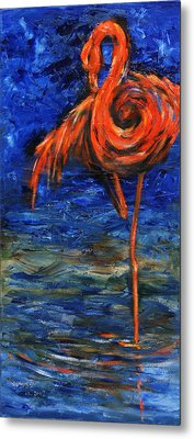 Metal Print featuring the painting Flamingo by Xueling Zou