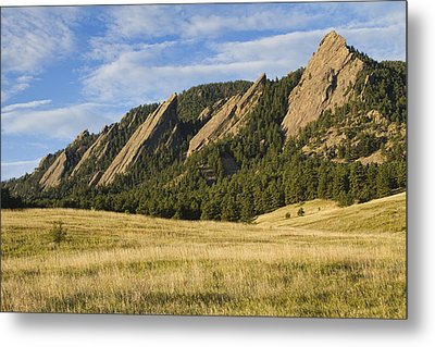 Flatirons With Golden Grass Boulder Colorado Metal Print