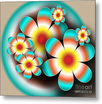 Floral Target Metal Print by Iris Gelbart