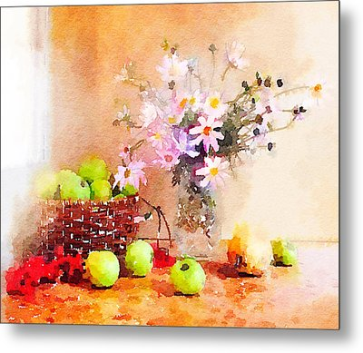 Flowers And Apples Metal Print by Yury Malkov