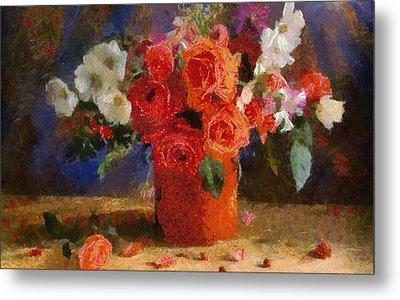 Metal Print featuring the painting Flowers by Georgi Dimitrov