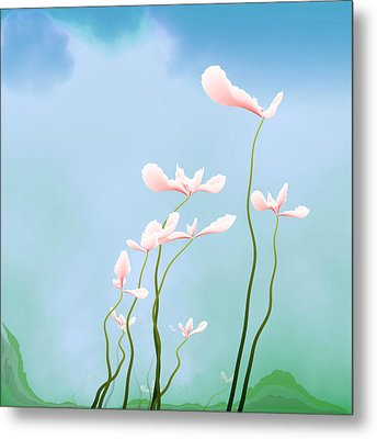 Flowers Of Peace Metal Print by GuoJun Pan