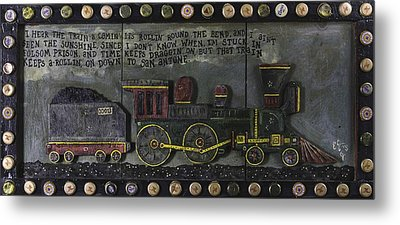 Metal Print featuring the painting Folsom Prison Train by Eric Cunningham
