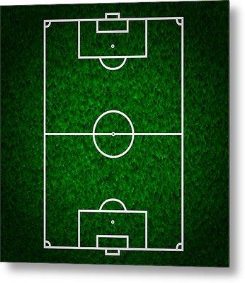 Football  Soccer Field Metal Print by Modern Art Prints