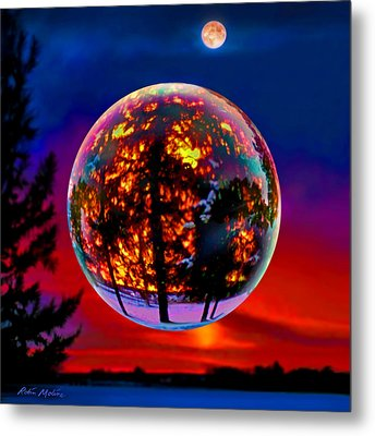 Full Moon Over New Richmond Sunset Metal Print by Robin Moline