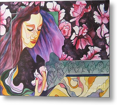 Metal Print featuring the painting Garden Secrets by Diana Bursztein