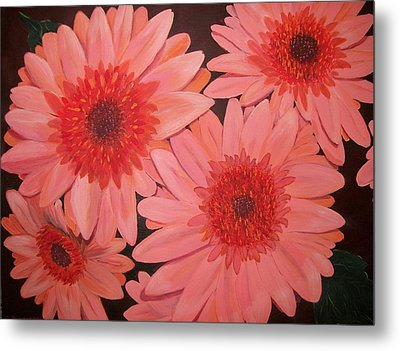 Metal Print featuring the painting Gerber Daisies by Sharon Duguay