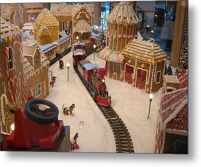 Gingerbread House Miniature Train Metal Print by Ellen Tully
