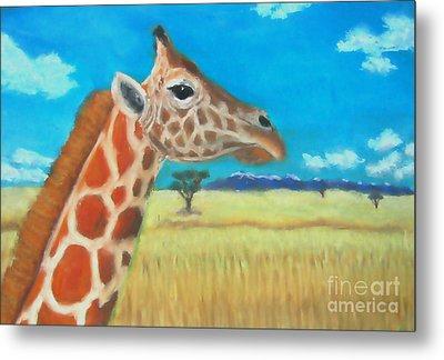 Giraffe Dreaming Metal Print