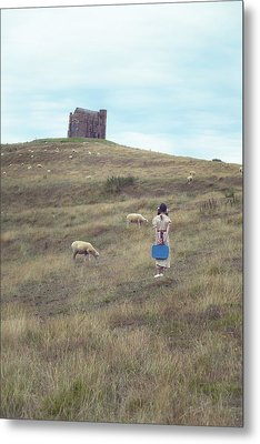 Girl With Sheeps Metal Print by Joana Kruse