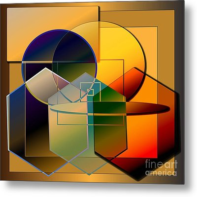 Metal Print featuring the digital art Golden Circles by Iris Gelbart
