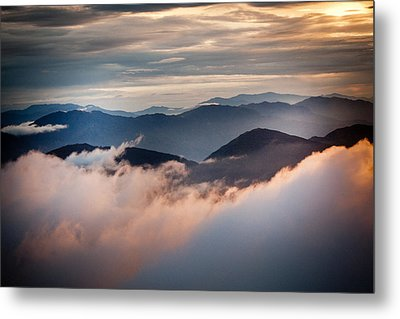 Golden Sunset Himalayas Mountain Nepal Metal Print