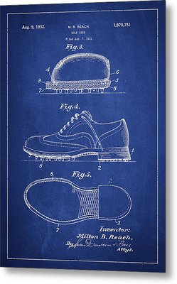 Golf Shoe Patent Drawing From 1931 Metal Print by Aged Pixel