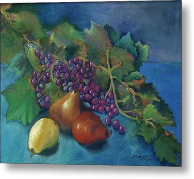 Grapes And Pears Metal Print