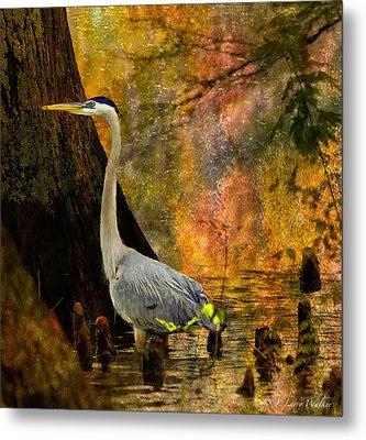 Great Blue Heron Slowly Fishing Metal Print by J Larry Walker