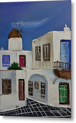 Metal Print featuring the painting Greek Village by Janice Rae Pariza