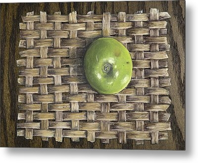 Metal Print featuring the painting Green Apple On Basket by Claude Schneider